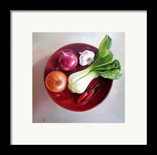 Still Life Framed Print featuring the painting Summer Plate 2 by Elena Kolotusha