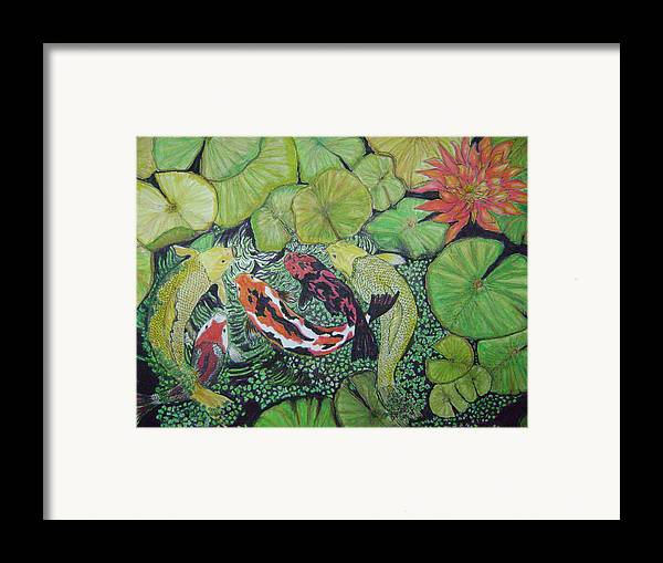 Fish Pond Framed Print featuring the painting Summer Pond At Lunchtime by Laura Johnson