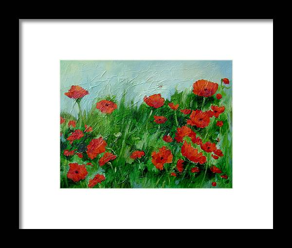 Red Poppies Framed Print featuring the painting Summer Poppies by Ginger Concepcion