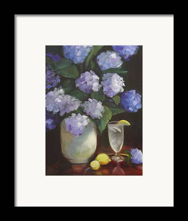 Hydrangea Still Life With Refreshing Fresh Lemonade To Cool A Hot Summer Day. Framed Print featuring the painting Summer Reprieve by Melanie Miller Longshore