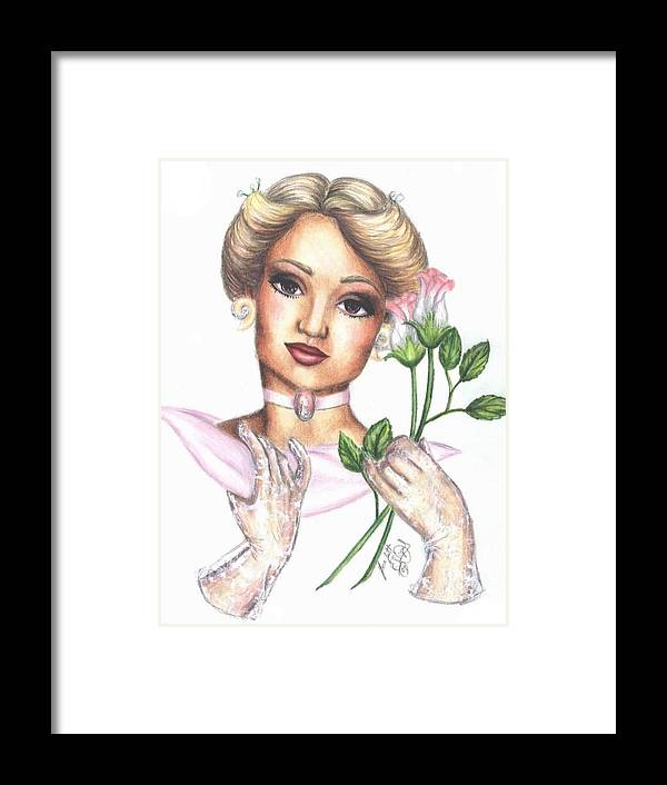 Portrait Framed Print featuring the drawing Summer Rose by Scarlett Royal