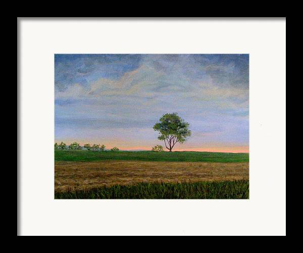 Landscape Framed Print featuring the painting Summer Storm by Evelynn Eighmey