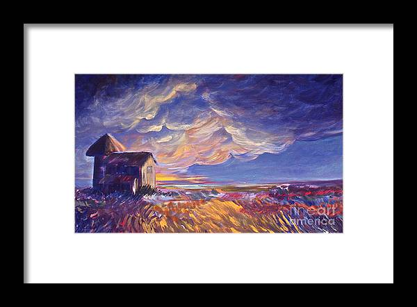 Summer Prairie Storm Framed Print featuring the painting Summer Storm by Joanne Smoley