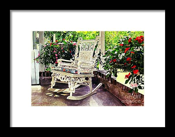 Wicker Chairs Framed Print featuring the painting Summer Sun Porch by David Lloyd Glover