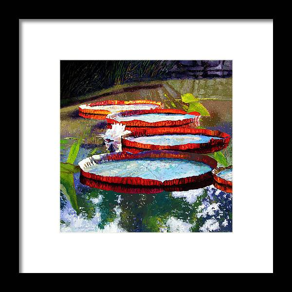 Water Lilies Framed Print featuring the painting Summer Sunlight On Lily Pads by John Lautermilch