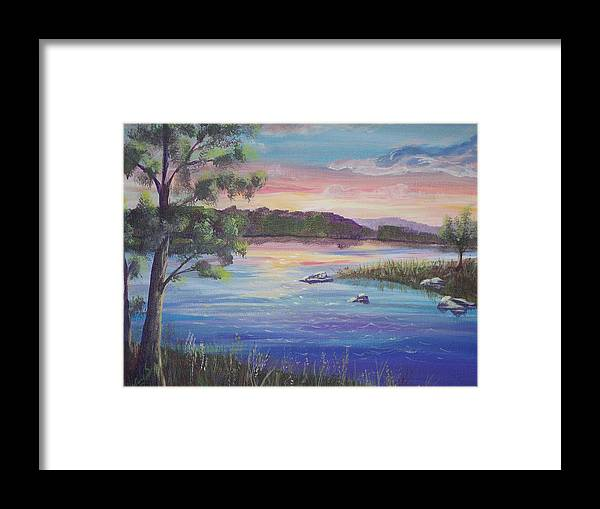 Sunset Framed Print featuring the painting Summer Sunset On Fish Lake by Wendy Smith