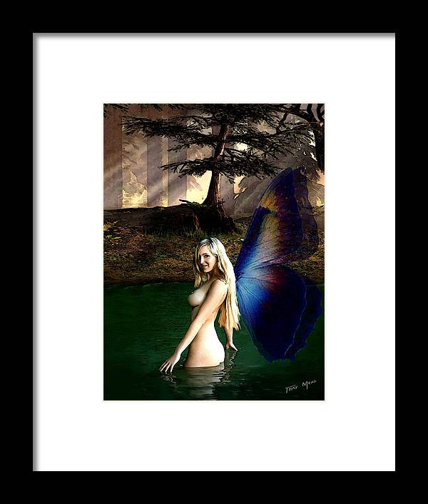 Fairy Framed Print featuring the painting Summer Swim by Tray Mead