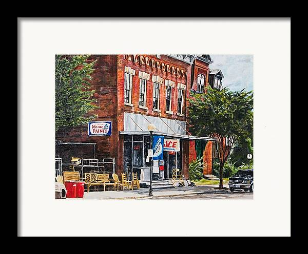 Small Town Framed Print featuring the painting Summer by Thomas Akers