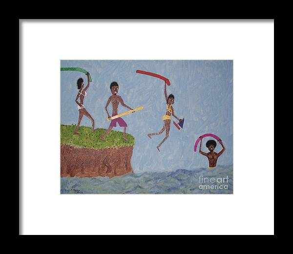 Swimming Framed Print featuring the painting Summer Time Fun by Gregory Davis