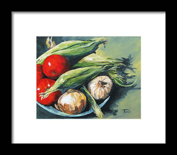 Onion Framed Print featuring the painting Summer Vegetables by Torrie Smiley