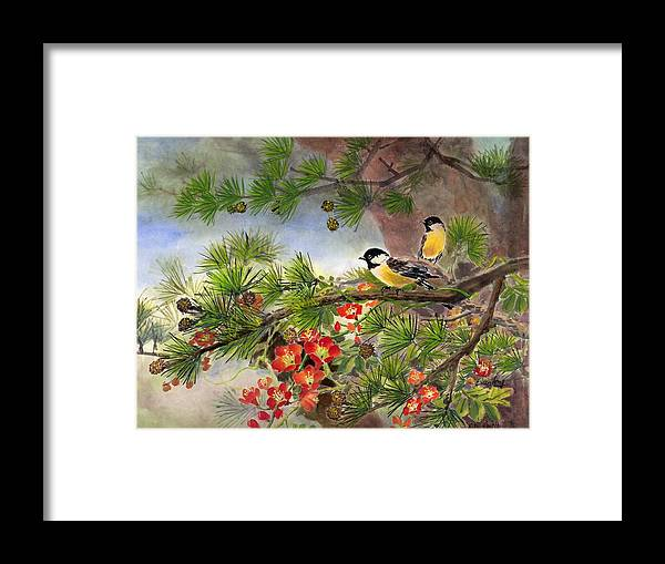 Chinese Trumpet Vine Framed Print featuring the painting Summer Vine With Pine Tree by Eileen Fong