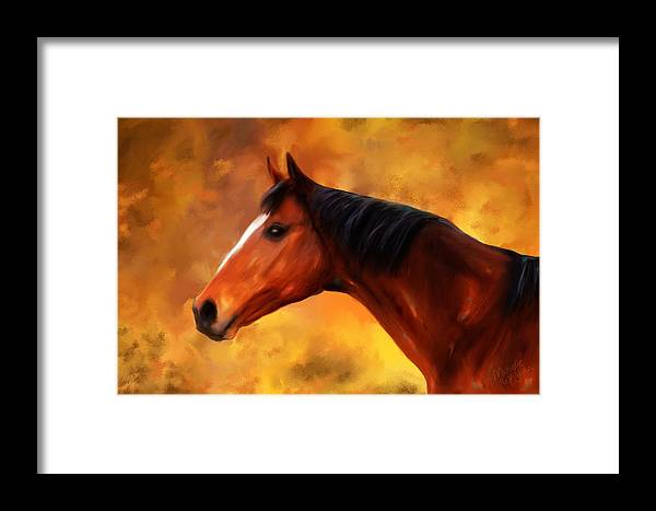 Horse Framed Print featuring the painting Summers End Quarter Horse Painting by Michelle Wrighton