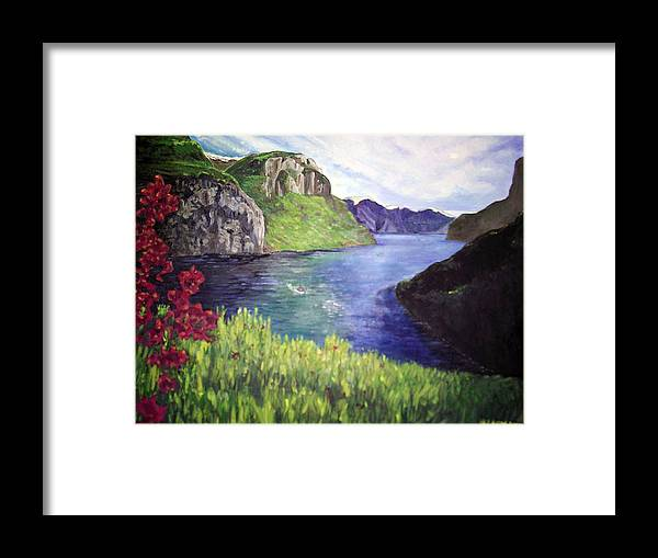Summer Landscape Flowers Impressionist River Mountains Framed Print featuring the painting Summer's Zenith by Hilary England