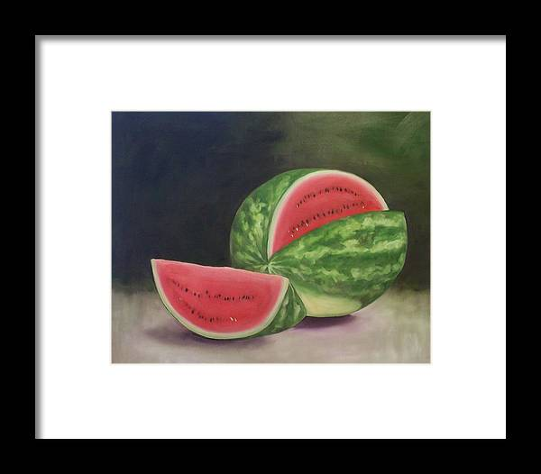 Watermelon Framed Print featuring the painting Summertime by Irene Corey
