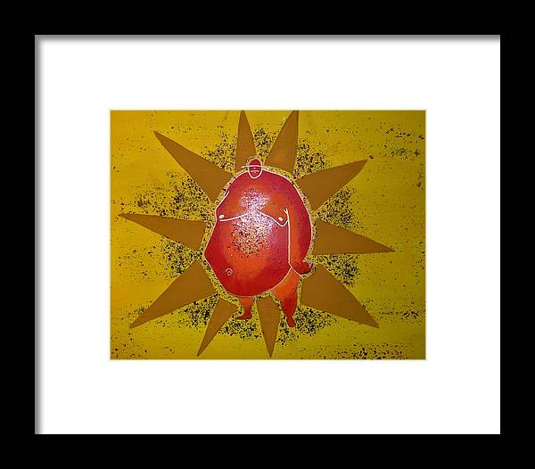 Sun Framed Print featuring the painting Sumo Sun by Kayanna South