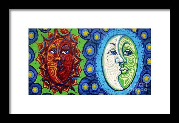 Sun Framed Print featuring the painting Sun And Moon by Genevieve Esson