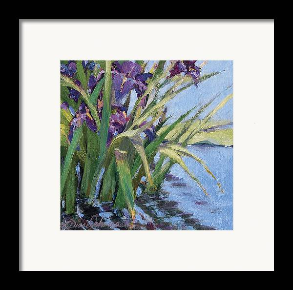 Purple Iris In Water Framed Print featuring the painting Sun Day - Iris In A Pond by L Diane Johnson