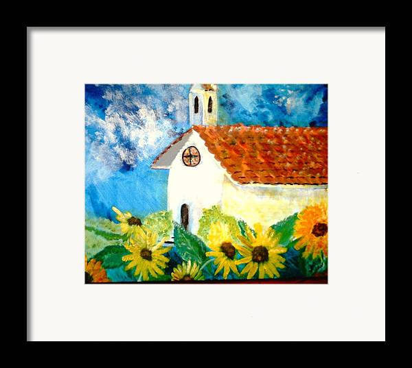Church Framed Print featuring the painting Sun Flowers Dance At San Marin by J Bauer
