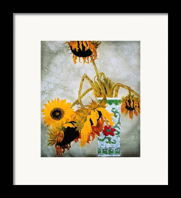 Painting Framed Print featuring the painting Sun Flowers No.1 by Minxiao Liu