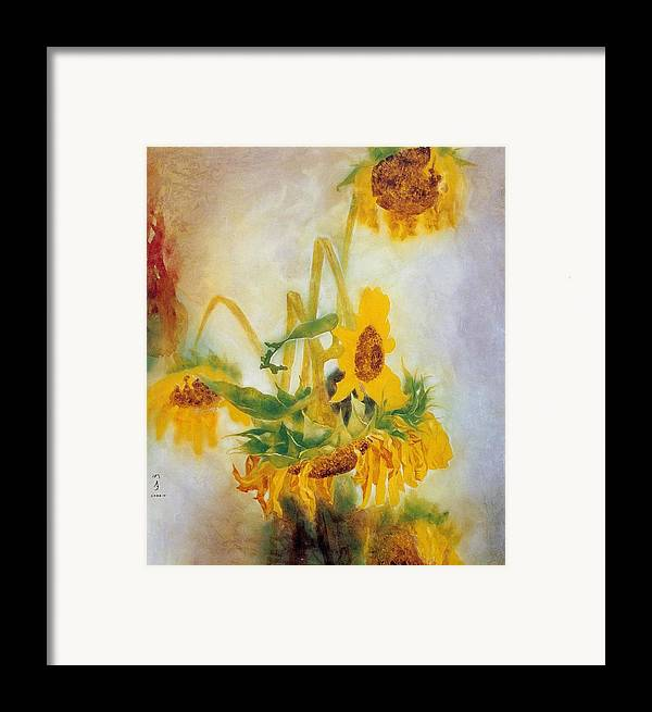 Flower Painting Framed Print featuring the painting Sun Flowers No.2 by Minxiao Liu
