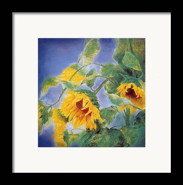 Sun Flowers Framed Print featuring the painting Sun Flowers No.3 by Minxiao Liu