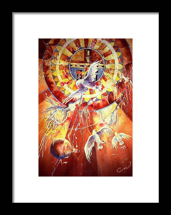 Birds Framed Print featuring the painting Sun God by Connie Williams