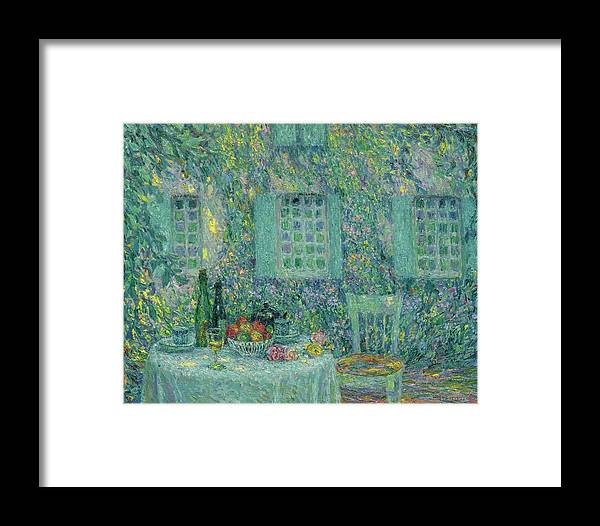 Henri Le Sidaner 1862 - 1939 Table. Sun In The Leaf Framed Print featuring the painting Sun In The Leaf, Gerberoy by Henri Le Sidaner