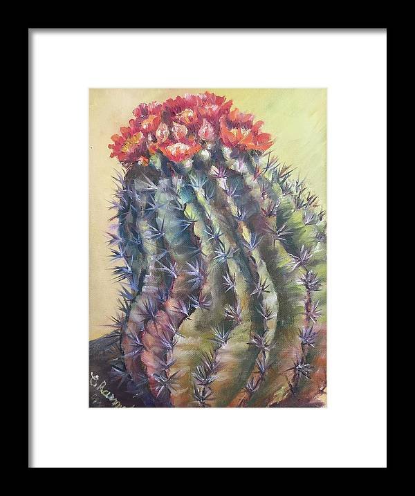 The Desert Cactus Is Not Just One Color And In The Bright Sun All The Colors Have A Glow All Of Their Own. The Greens Are Greener Framed Print featuring the painting Sun Kissed Barrel Cactus by Charme Curtin