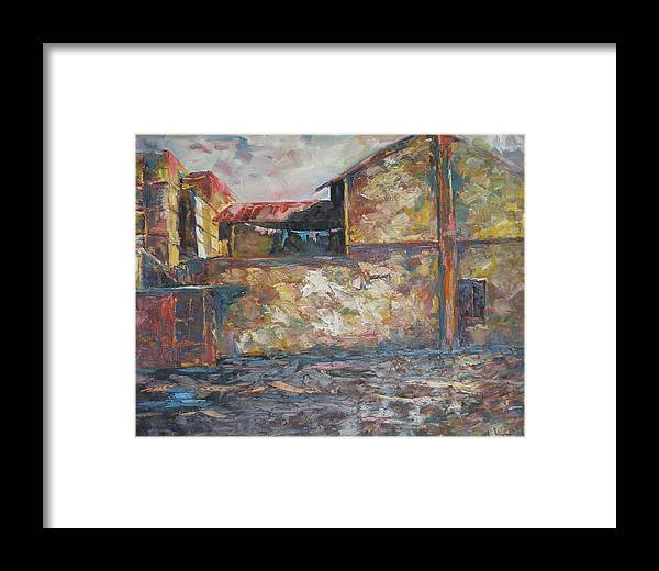 Buildings Framed Print featuring the painting Sun-kissed Jalan Sultan by Wendy Chua