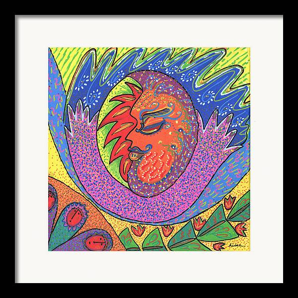 Whimsical Framed Print featuring the painting Sun Man by Sharon Nishihara