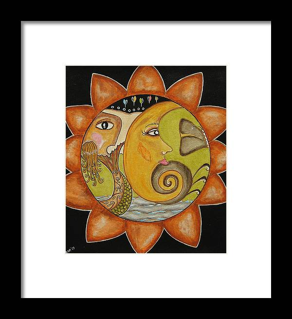 Folk Art Paintings Framed Print featuring the painting Sun Moon And Mermaid by Rain Ririn