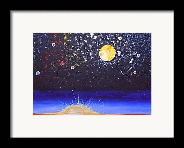 Sun Framed Print featuring the painting Sun Moon And Stars by Donna Blossom