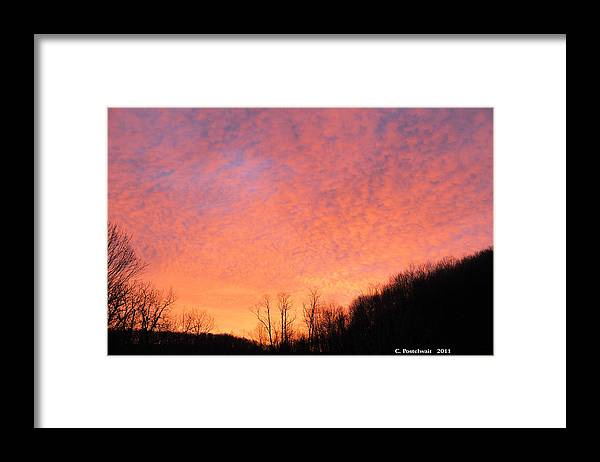 Clouds Framed Print featuring the photograph Sun Rise by Carolyn Postelwait