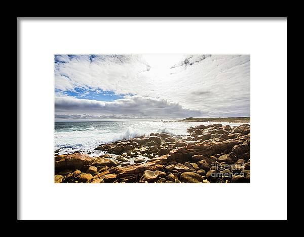 Australia Framed Print featuring the photograph Sun Rising Over The Ocean by Jorgo Photography - Wall Art Gallery