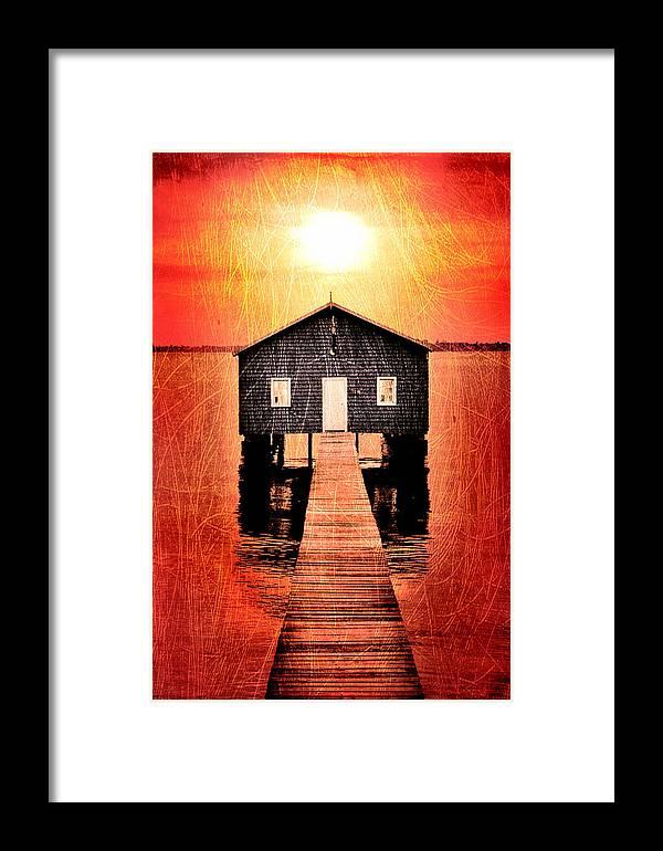 Matilda Bay Boat Shed Framed Print featuring the digital art Sun Scars by Az Jackson