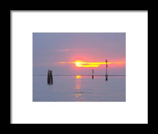 Landscape Water Framed Print featuring the photograph Sun Sets Over Venice II by Viviana Puello Villa