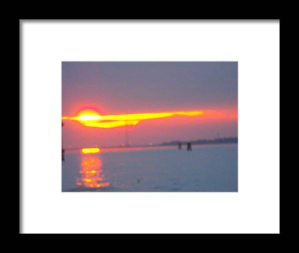 Landscaper Seascapes Sunset Framed Print featuring the photograph Sun Sets Over Venice IIi by Viviana Puello Villa