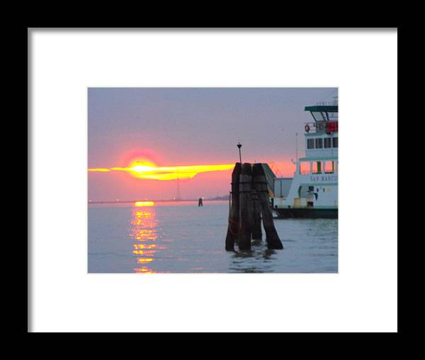 Framed Print featuring the photograph Sun Sets Over Venice by Viviana Puello Villa