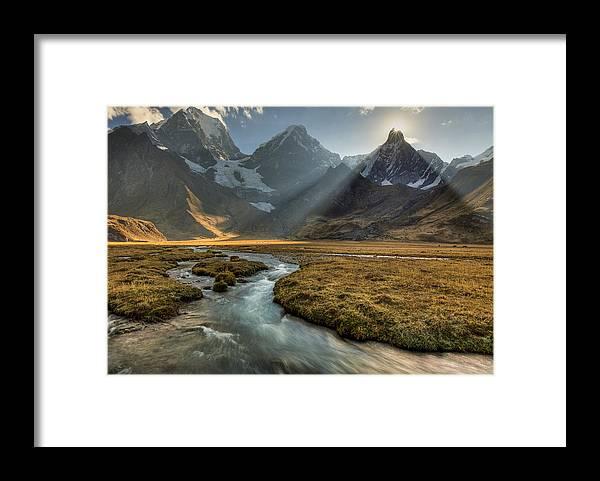 00498205 Framed Print featuring the photograph Sun Setting Behind Jirishanca Peak by Colin Monteath