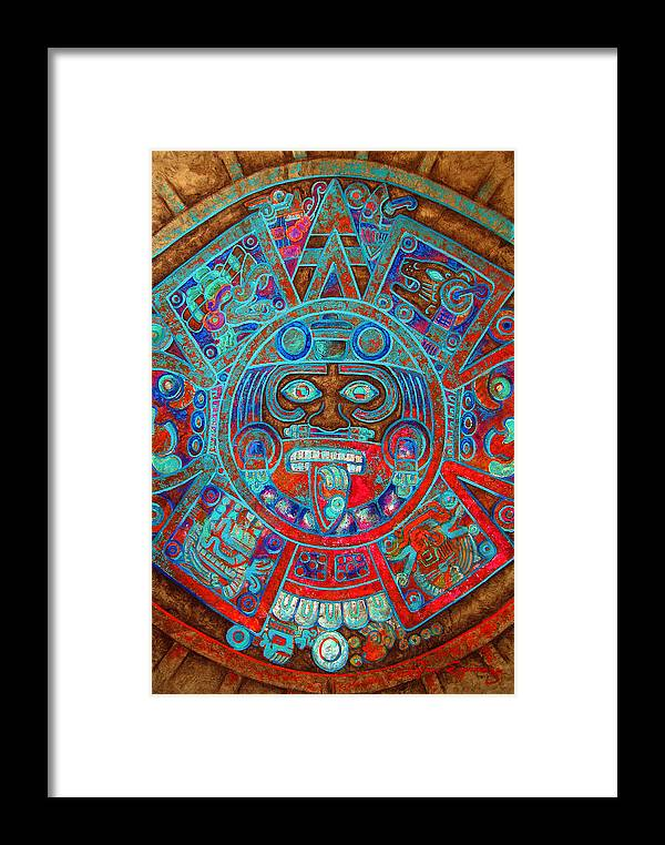 Aztec Framed Print featuring the painting S U N . S T O N E by J - O  N  E