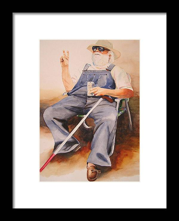 Blind Man Framed Print featuring the painting Sun Worshipper by Karen Stark