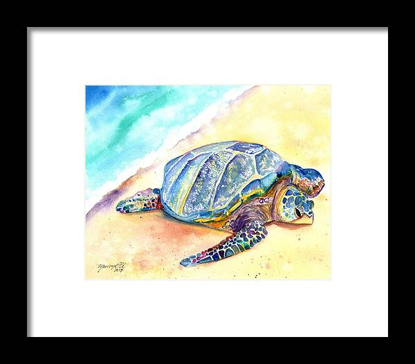 Turtle Painting Framed Print featuring the painting Sunbathing Turtle by Marionette Taboniar