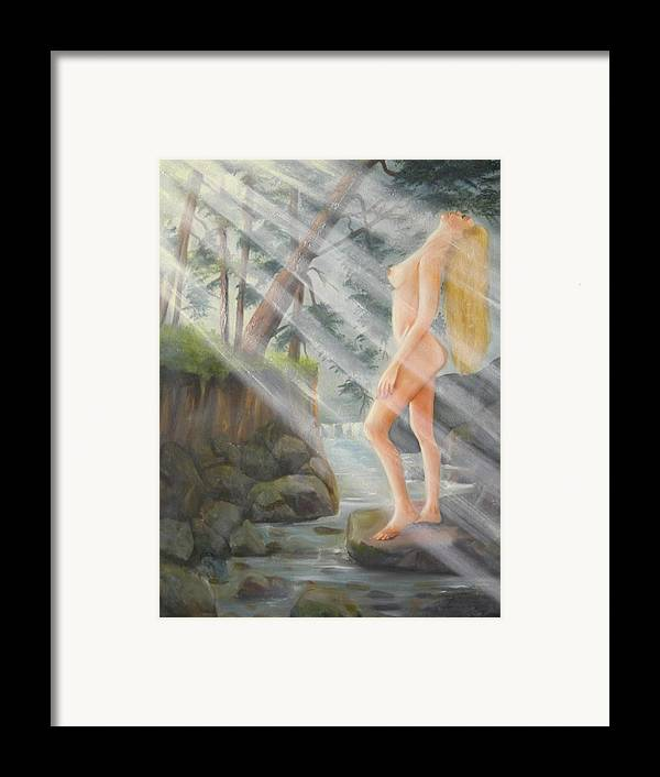 Nude Framed Print featuring the painting Sunbeams by Joni McPherson