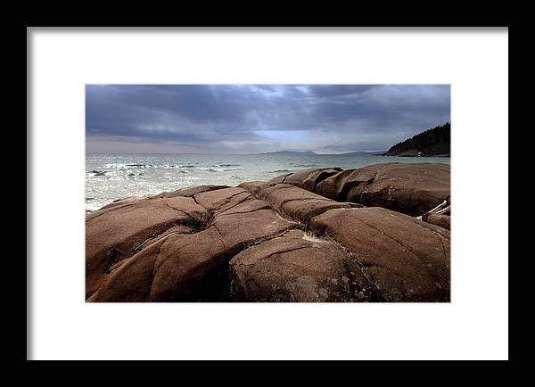 Framed Print featuring the photograph Sunbreak Over The Shoreline by Laura Lea Wergin-Comeau