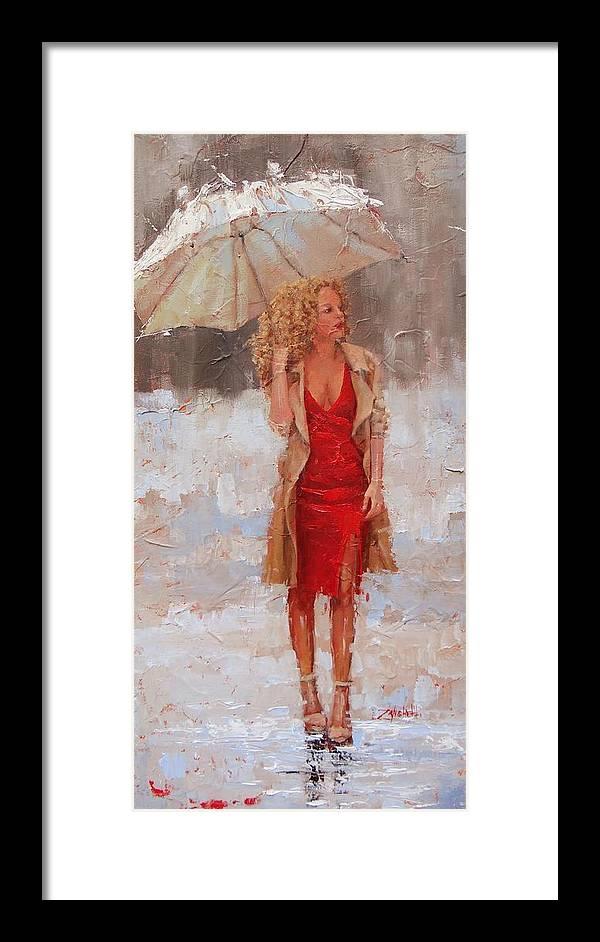 Laura Zanghetti Framed Print featuring the painting Sunbrella by Laura Lee Zanghetti