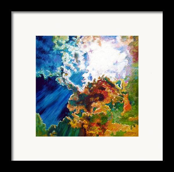 Sunburst Framed Print featuring the painting Sunburst by John Lautermilch