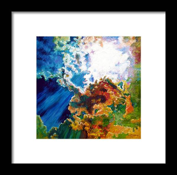 Sunburst Framed Print featuring the painting Sunburst by John Lautermilch