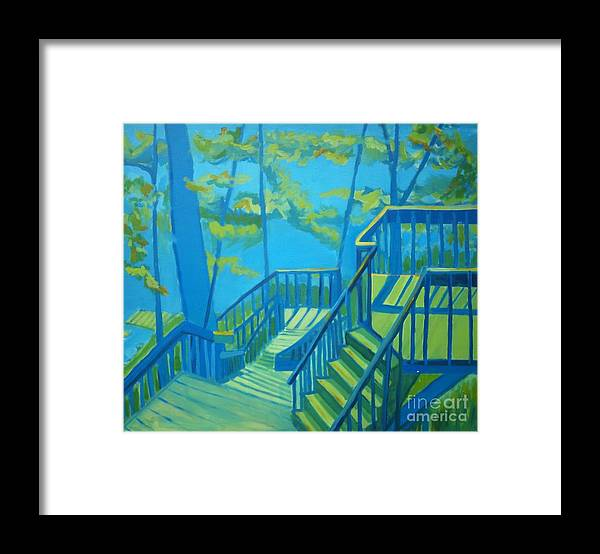 New Hampshire Framed Print featuring the painting Suncook Stairwell by Debra Bretton Robinson