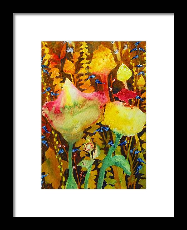 Abstract Floral Framed Print featuring the painting Sundae Flower Cone by Henny Dagenais