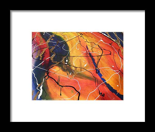 Abstract Framed Print featuring the painting Sunday Afternoon by Kim Rahal